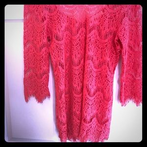 Coral lace crocheted top with zipper back